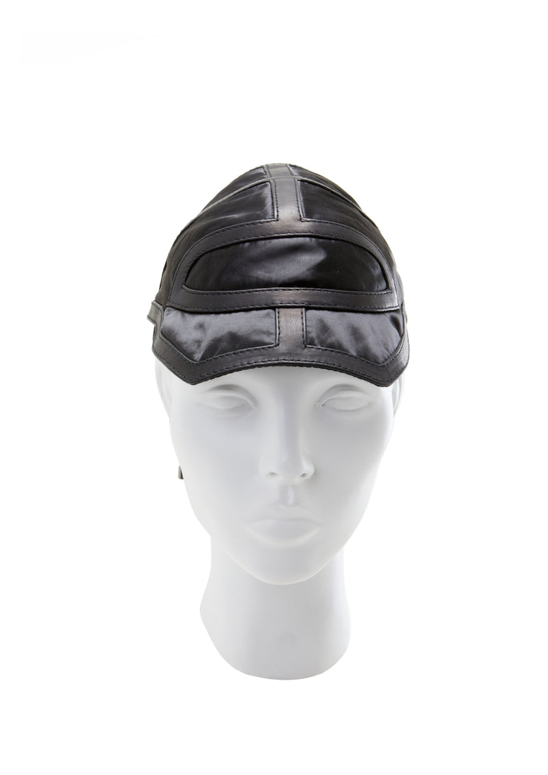 Nylon cap with leather made by house of malakai