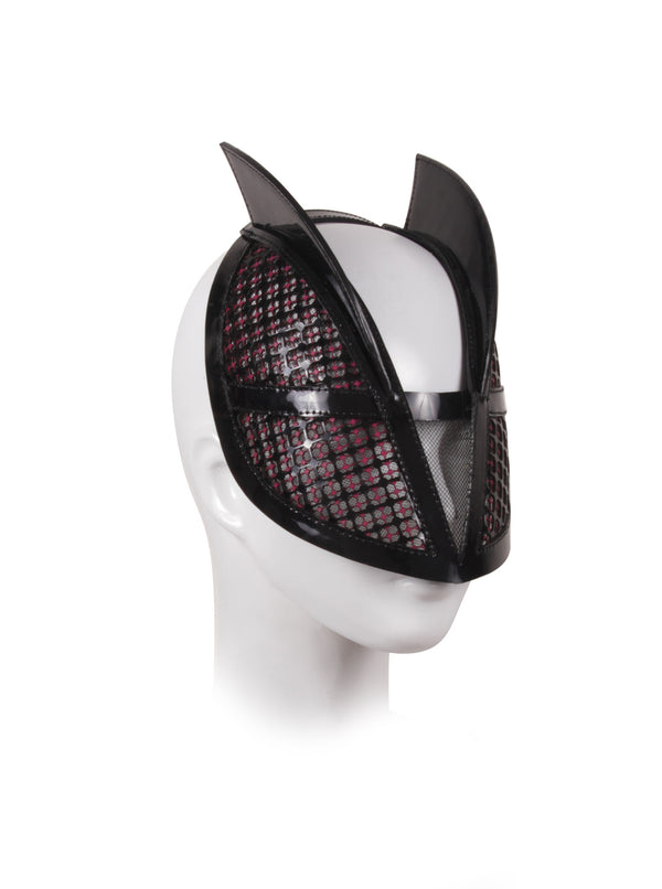 Mask leather Hat with net cut made by House of Malakai