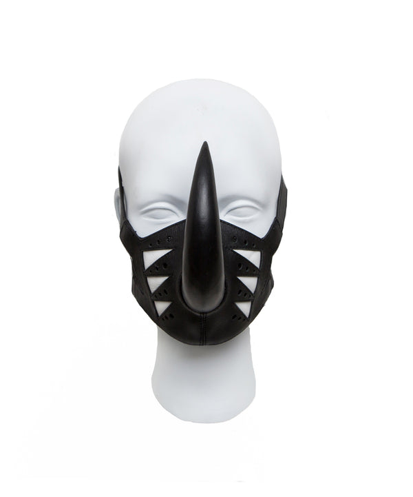 Leather masker with rhine spike made by House of Malakai