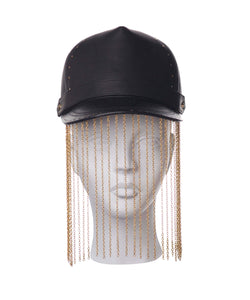 Black leather cap with chain hanging made by House of Malakai