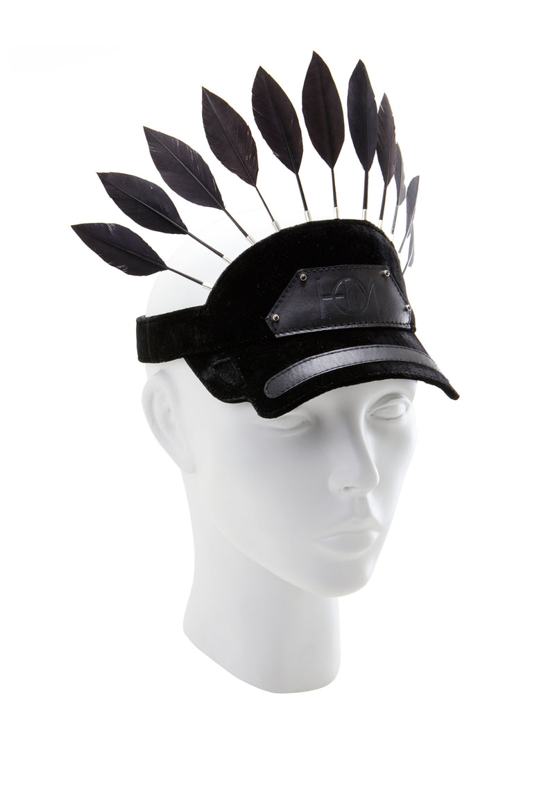 Visor cap with feather made by house of malakai