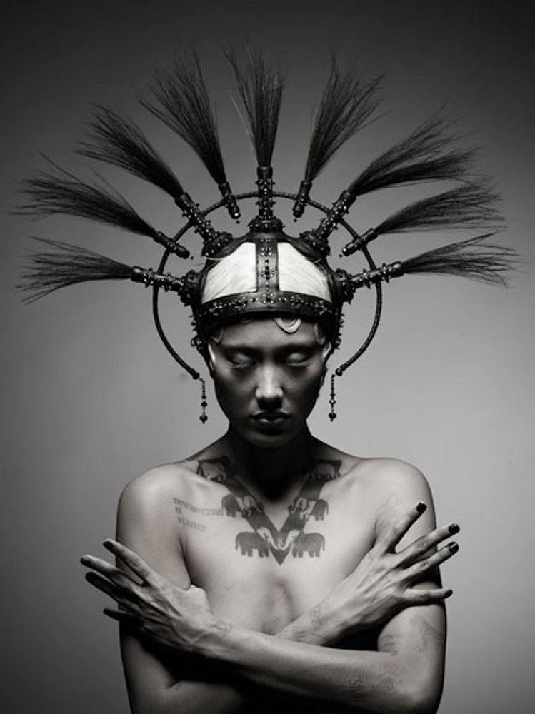 Leather Headdress with the Feather Rays made by House of Malakai