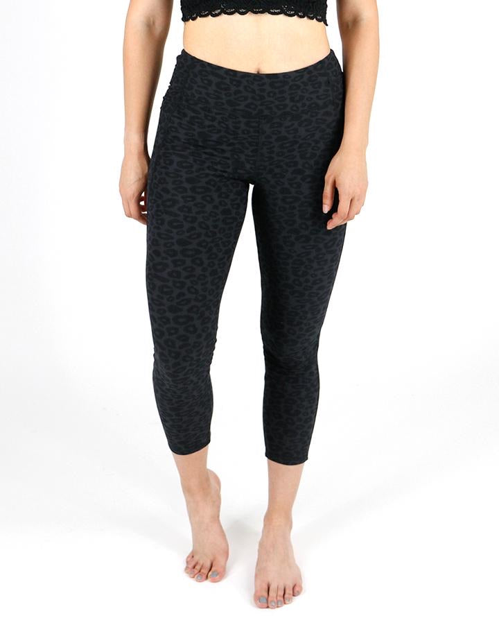 Repurposed live-in leggings, in mid length  -black cheetah  (Grace and lace)