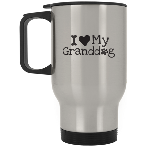 I Love My Granddog Silver Stainless Travel Mug