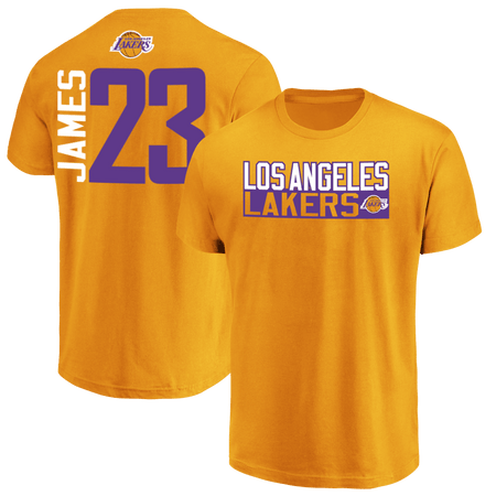 New Arrivals!! LeBron James Los Angeles Lakers Vertical  Name & Number T-Shirt Now In Stock!