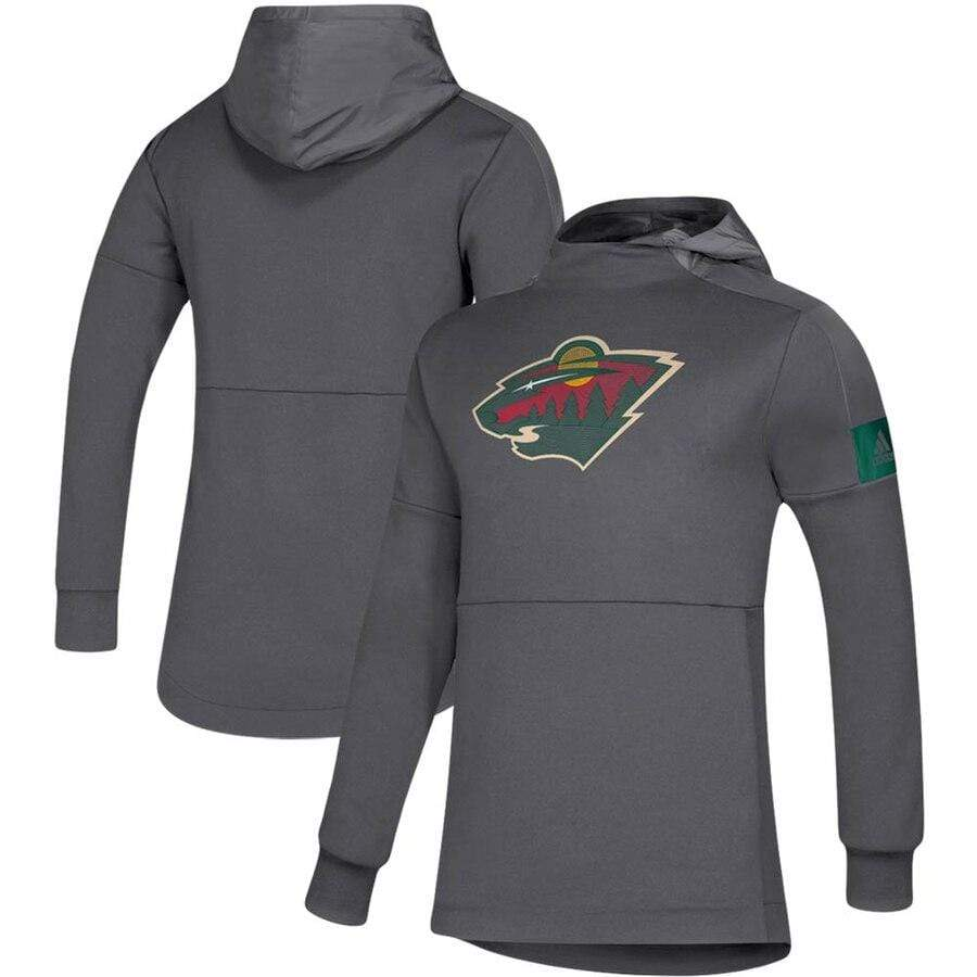 adidas Sweatshirts Men's Minnesota Wild adidas Gray Game Mode Hooded Sweatshirt