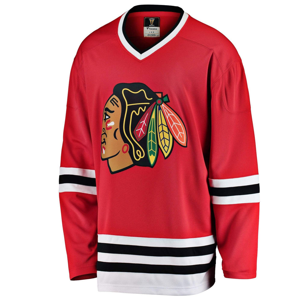 Fanatics Adult Jersey Chicago Blackhawks Fanatics Branded Men's Red Premier Breakaway Heritage Blank Jersey