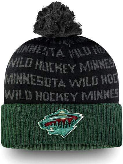 Fanatics Hats OSFM / Black Minnesota Wild Fanatics Black Authentic Pro Rinkside Pom Knit Hat