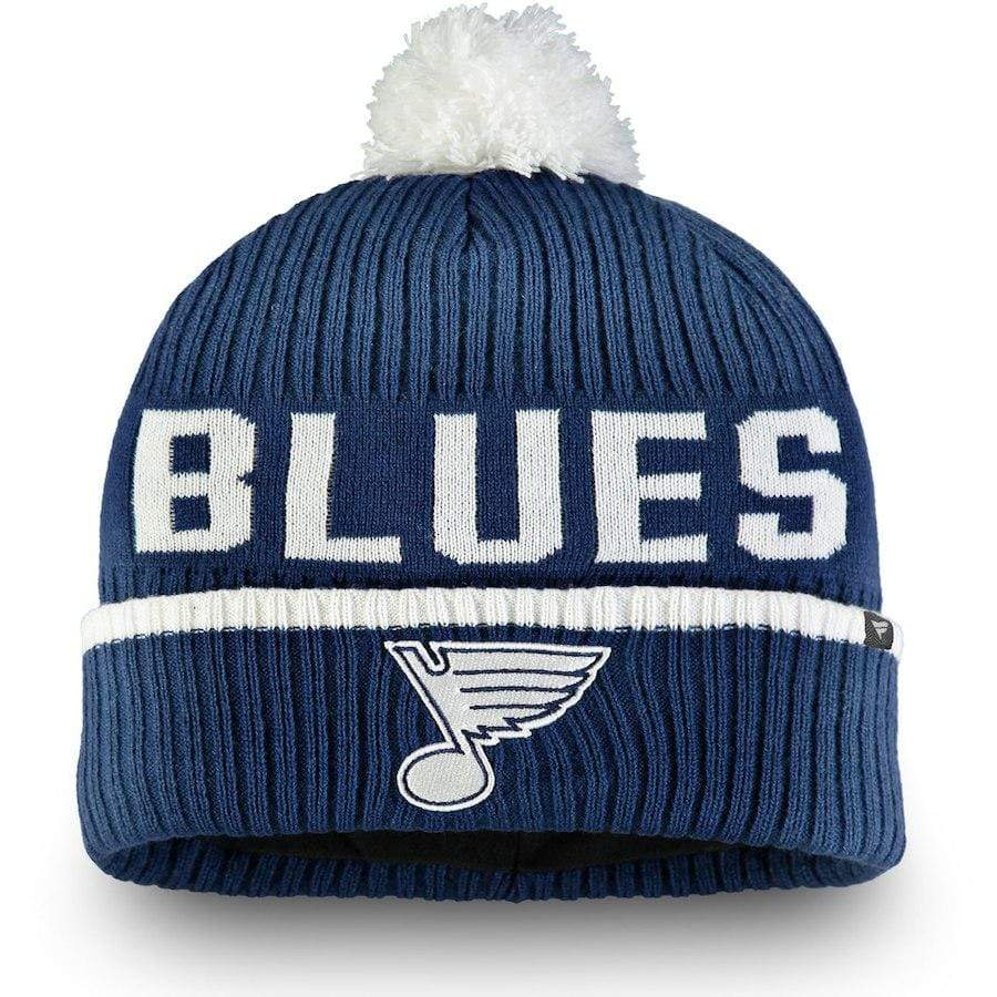 Fanatics Hats OSFM / Blue St. Louis Blues Fanatics Branded Blue Iconic Stroke Cuffed Knit Hat w/ Pom