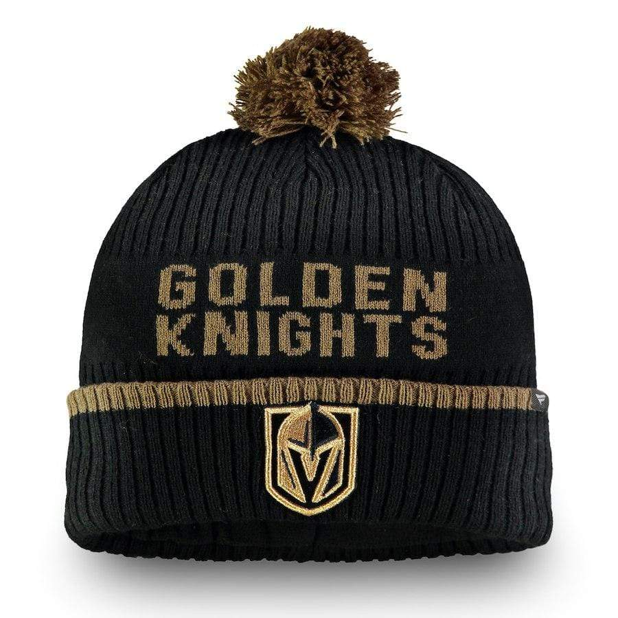 Fanatics Hats OSFM / Gray Vegas Golden Knights Fanatics Branded Gray Iconic Stroke Cuffed Knit Hat w/ Pom