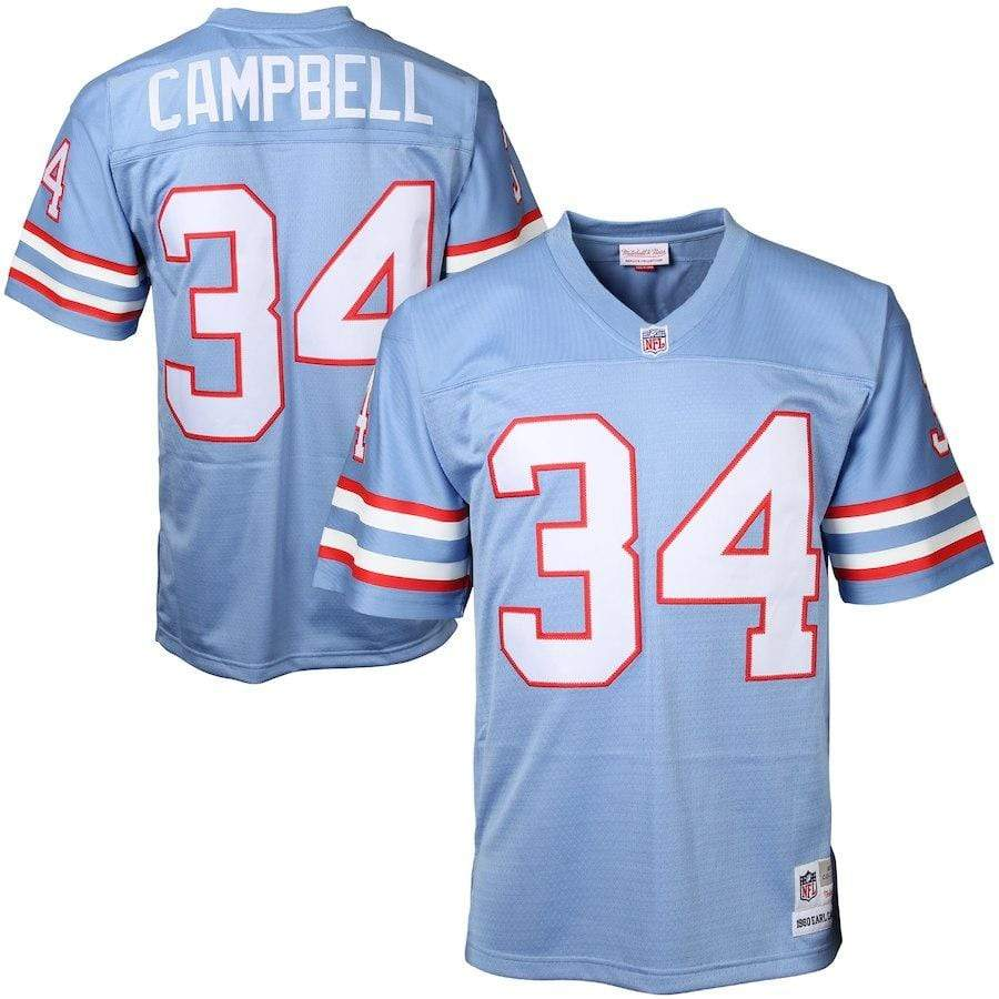 Mitchell & Ness Adult Jersey Earl Campbell Houston Oilers Mitchell & Ness NFL 1980 Blue Throwback Jersey