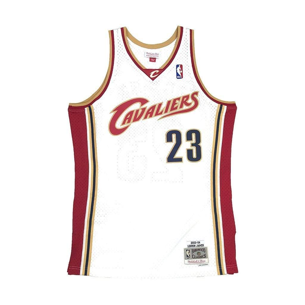 Mitchell & Ness Adult Jersey LeBron James Cleveland Cavaliers Mitchell & Ness NBA White Throwback Swingman Jersey