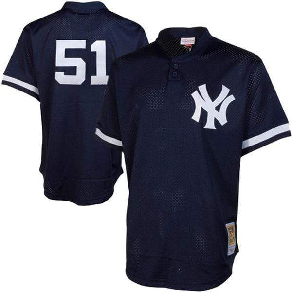 Mitchell & Ness Adult Jersey Men's Bernie Williams New York Yankees Mitchell & Ness Navy Blue Cooperstown Mesh Batting Practice Jersey