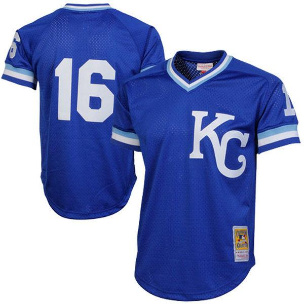 Mitchell & Ness Adult Jersey Men's Bo Jackson Kansas City Royals Mitchell & Ness Blue Cooperstown Mesh Batting Practice Jersey