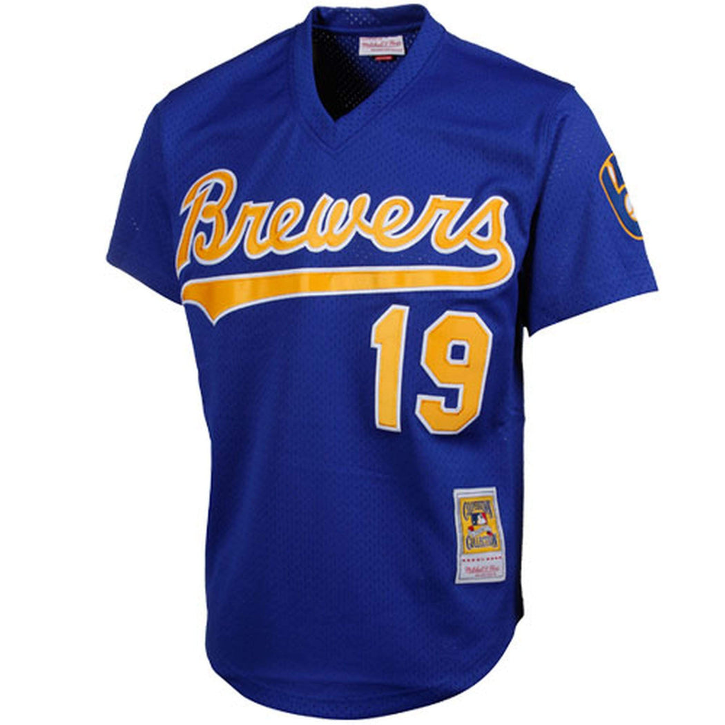 Mitchell & Ness Adult Jersey Men's Robin Yount Milwaukee Brewers Mitchell & Ness Blue Cooperstown Mesh Batting Practice Jersey