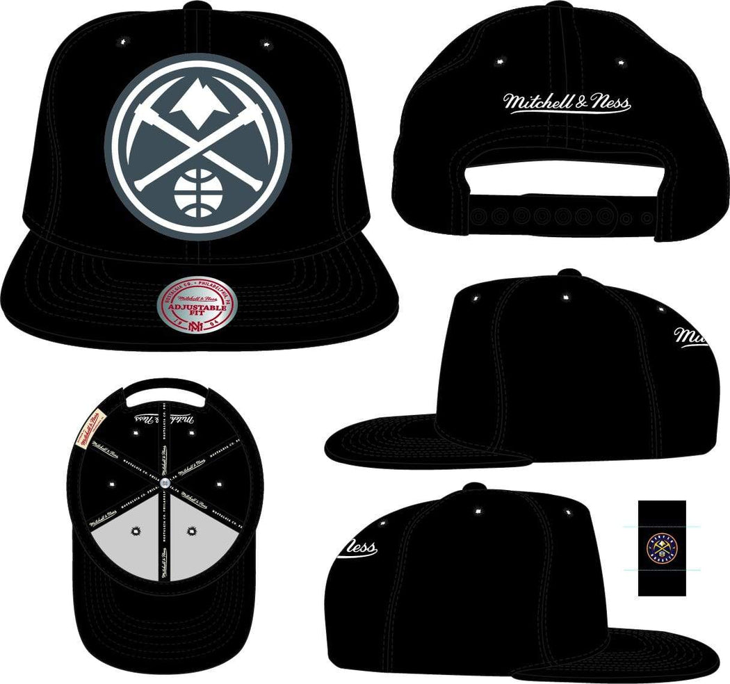 Mitchell & Ness Hats Adjustable / Black Denver Nuggets Mitchell & Ness Black XL BWG Snapback Hat