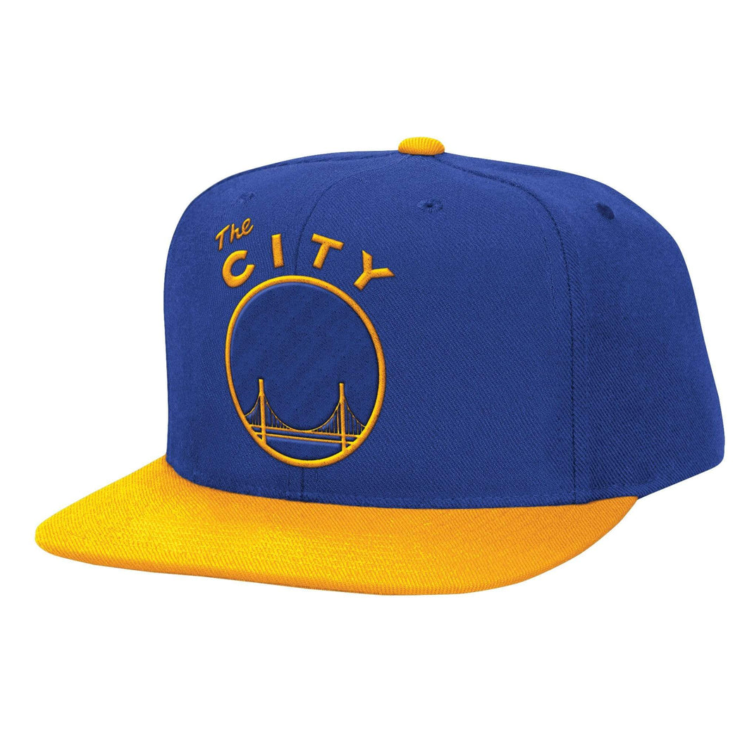 Mitchell & Ness Hats OSFM / Royal Golden State Warriors Mitchell & Ness NBA Throwback The City XL 2 Tone Snapback