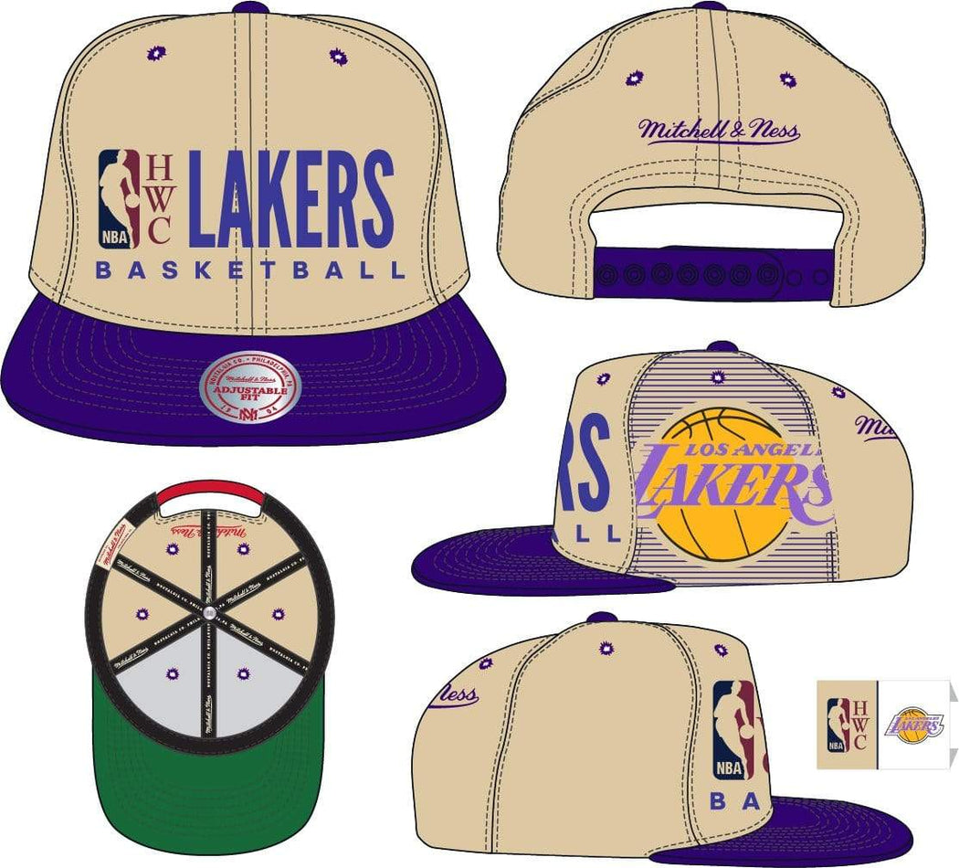 Mitchell & Ness Hats OSFM / Sand Los Angeles Lakers Mitchell & Ness Men's Big Face Logo HWC Snapback Hat