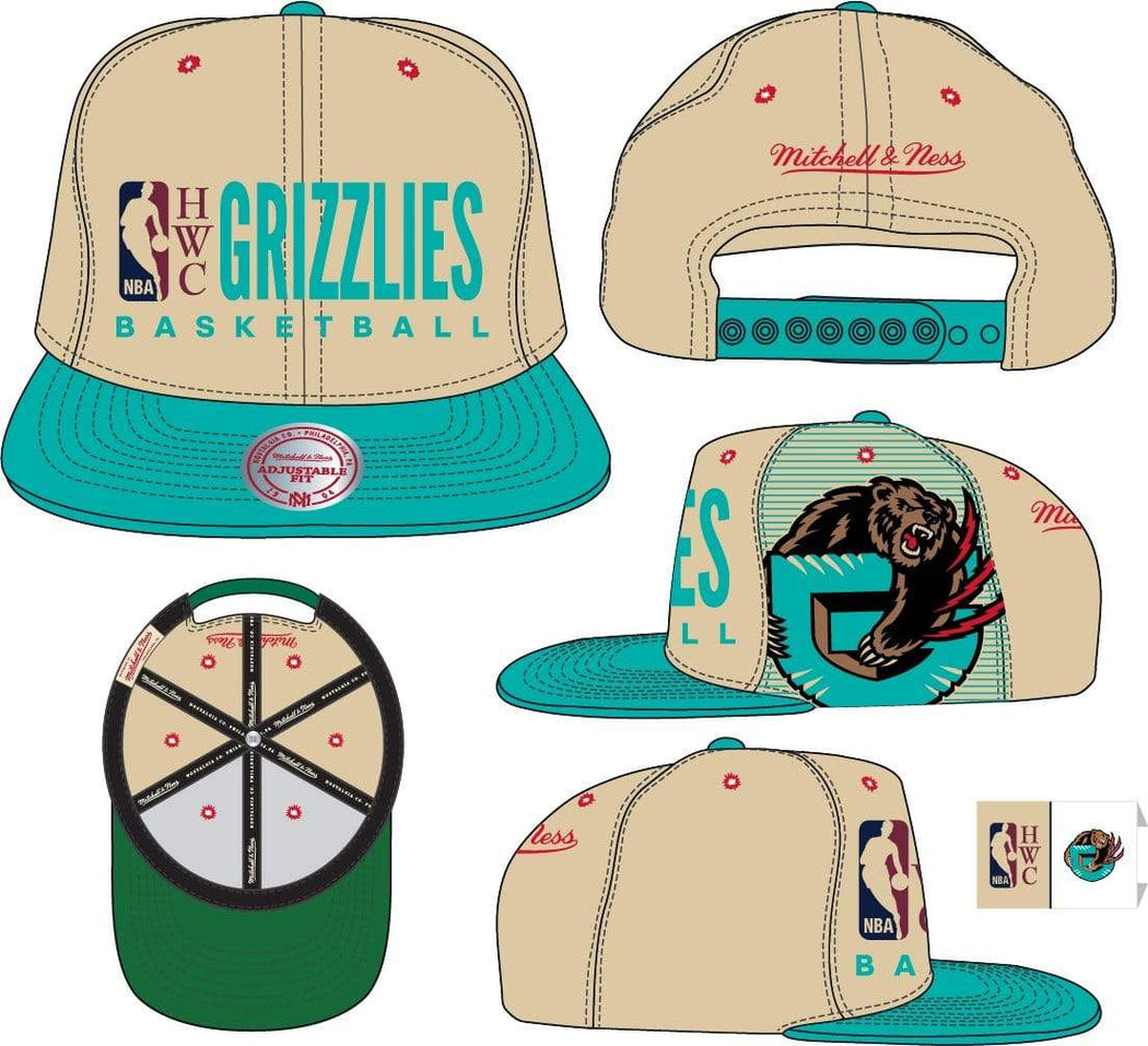 Mitchell & Ness Hats OSFM / Sand Vancouver Grizzlies Mitchell & Ness Men's Big Face Logo HWC Snapback Hat