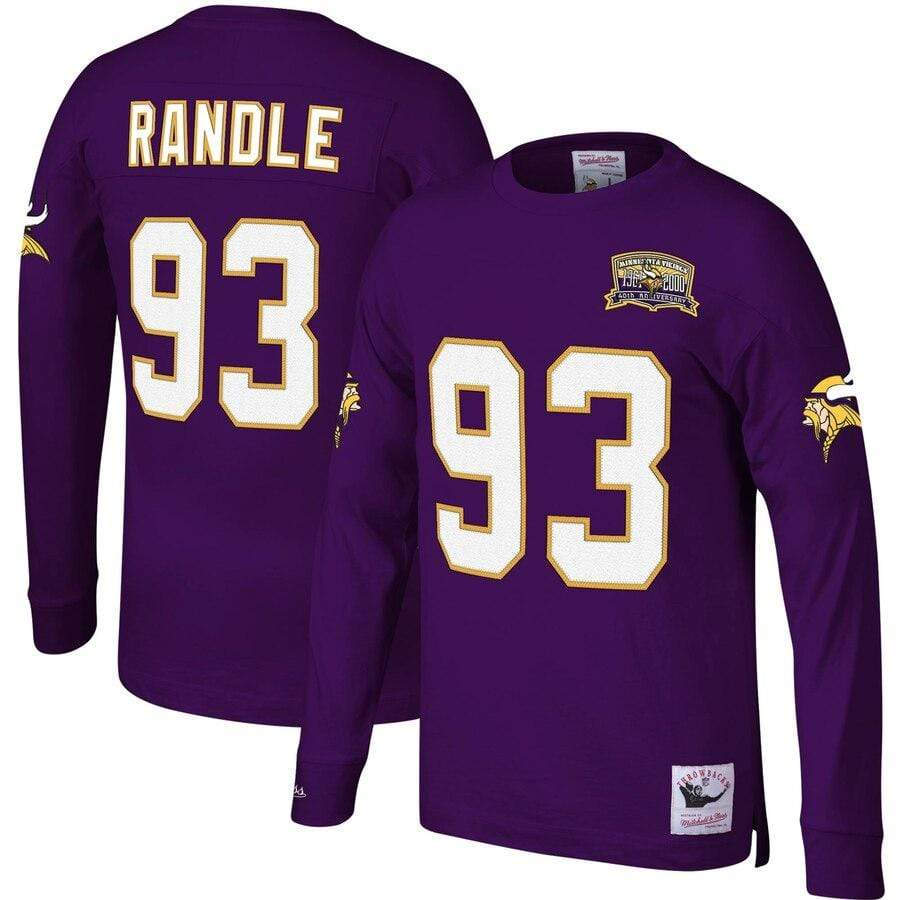 Mitchell & Ness Shirts Men's John Randle Minnesota Vikings Mitchell & Ness Throwback Player Name & Number Long Sleeve Shirt