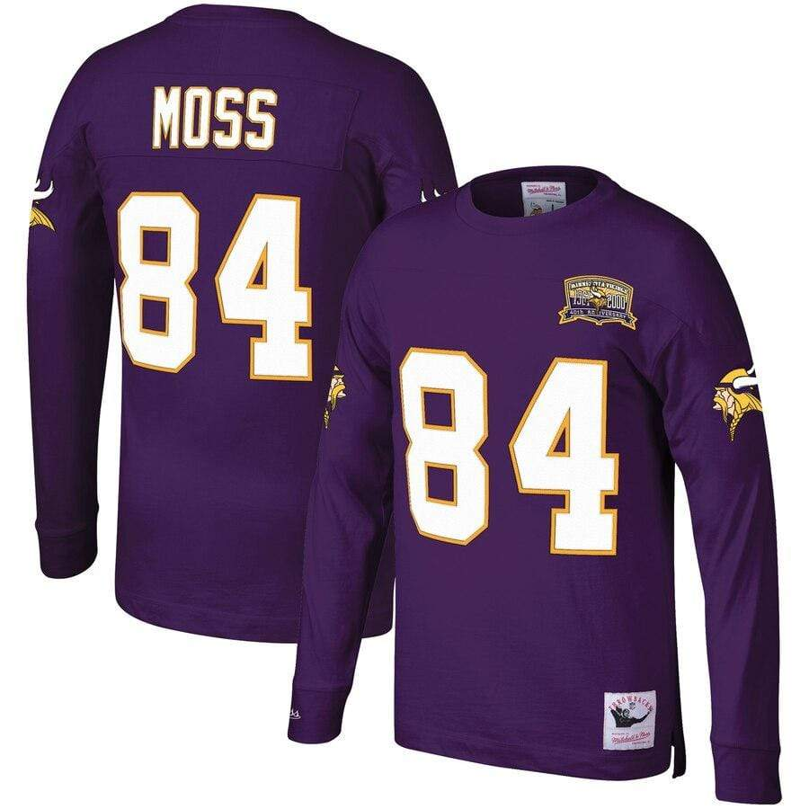 Mitchell & Ness Shirts Men's Randy Moss Minnesota Vikings Mitchell & Ness Throwback Player Name & Number Long Sleeve Top