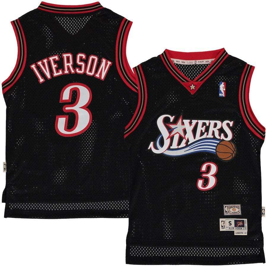 Youth Allen Iverson Philadelphia 76ers Mitchell & Ness NBA Black Throwback Jersey