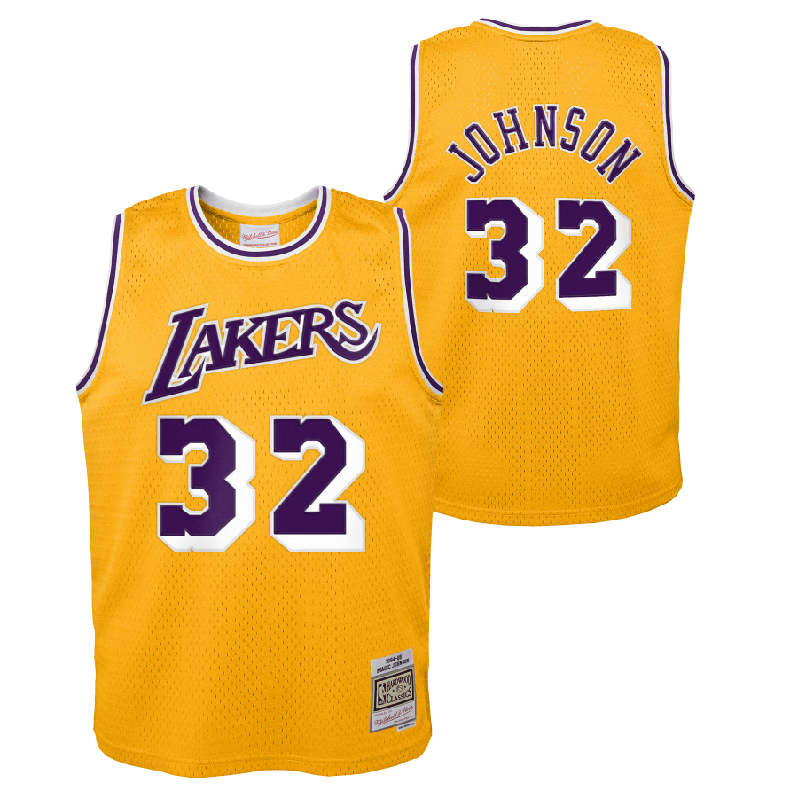 Youth Magic Johnson Los Angeles Lakers Mitchell & Ness NBA Gold Throwback Jersey