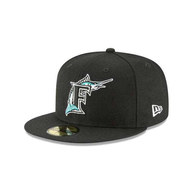 New Era Hats Florida Marlins New Era 1993 Black Cooperstown Collection 59FIFTY Fitted Hat