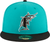 New Era Hats Florida Marlins New Era 1997 World Series Patch Wool 59FIFTY Fitted Hat Teal