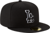 New Era Hats Los Angeles Dodgers New Era Outline Logo Black Collection 59FIFTY Fitted Hat