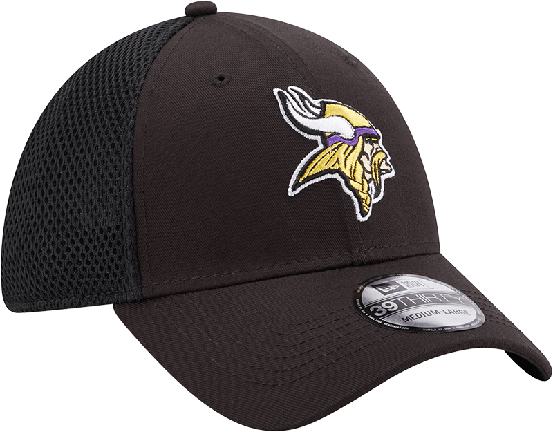 New Era Hats Minnesota Vikings New Era Black Logo Neo 39THIRTY Flex Hat