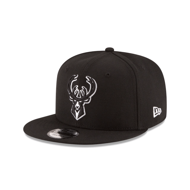 New Era Hats One Size / Black Milwaukee Bucks New Era Black & White Logo 9FIFTY Adjustable Snapback Hat - Black