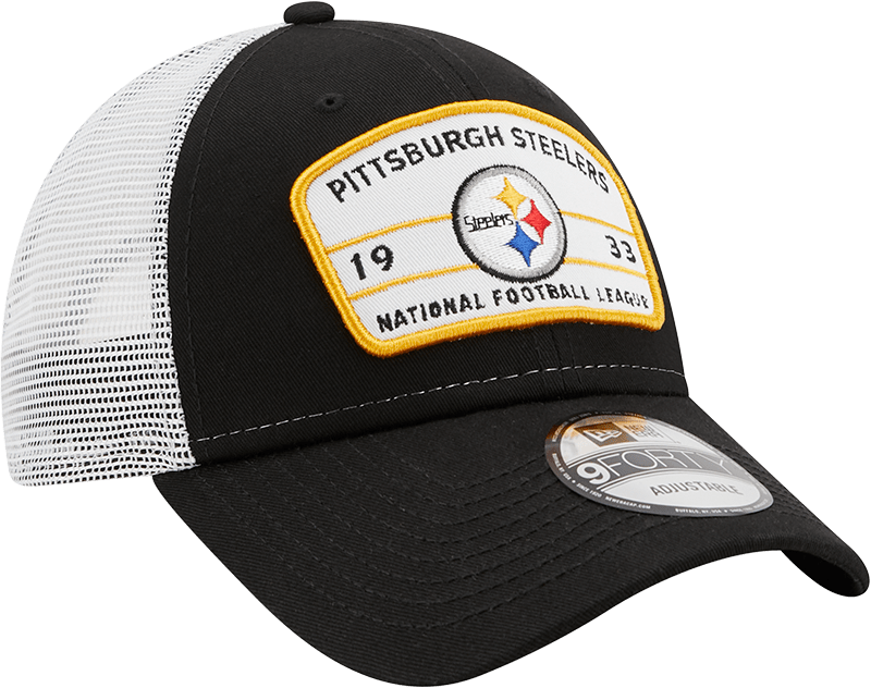 New Era Hats One Size / Black Pittsburgh Steelers New Era Black/White Loyalty Trucker 9FORTY Snapback Hat