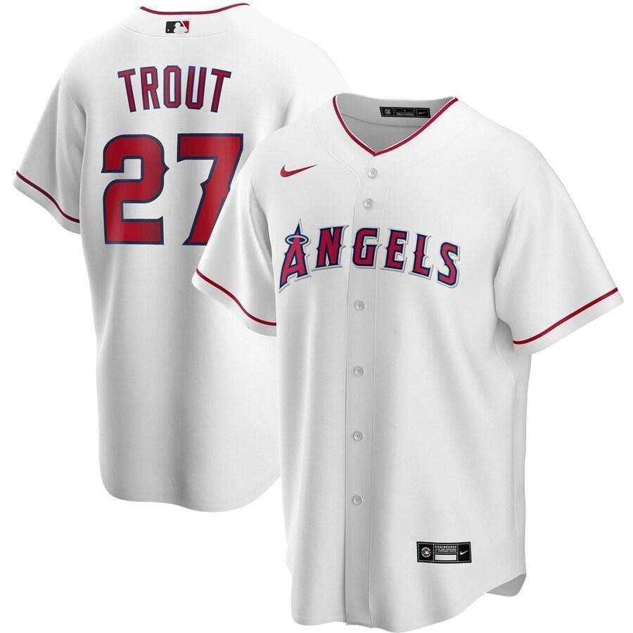 Nike Adult Jersey Men's Mike Trout Los Angeles Angels Nike White Home 2020 Replica Player Jersey