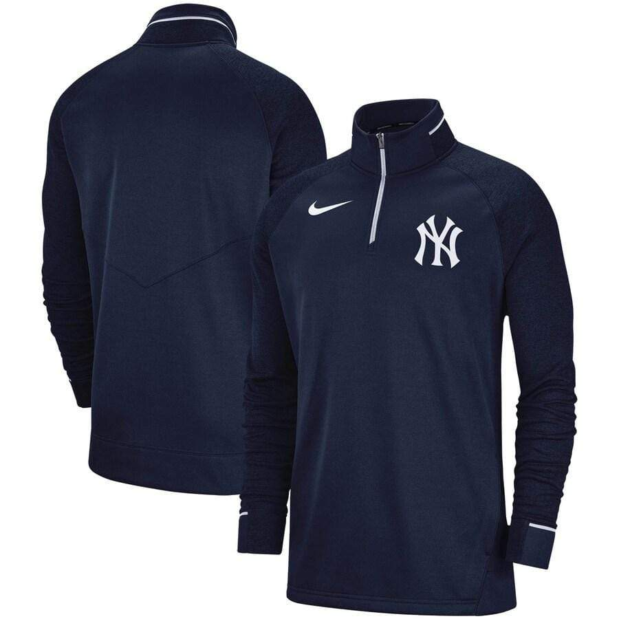 Nike Jacket New York Yankees Nike Elite Game Performance Raglan Sleeve Quarter-Zip Pullover Jacket - Navy