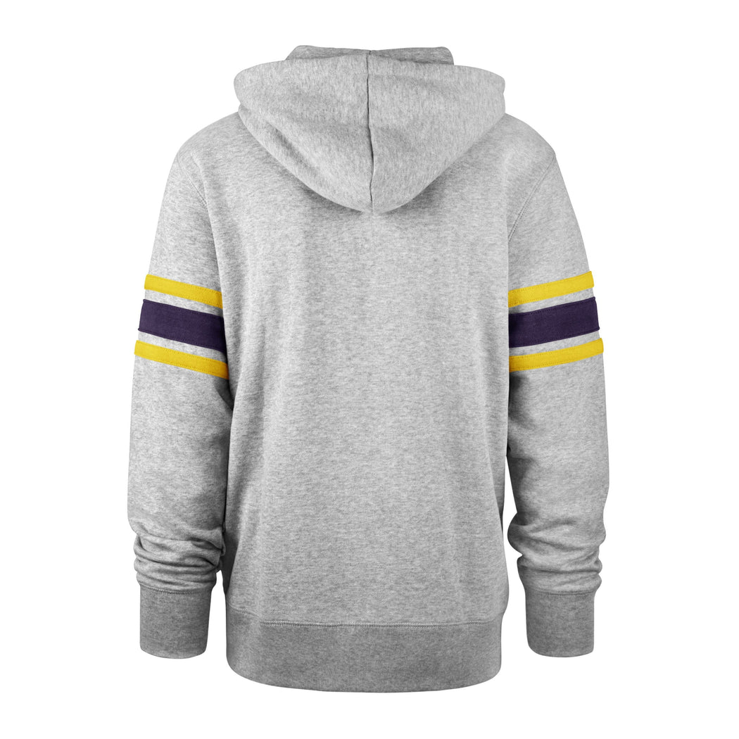 Pro Image Sports at the Mall of America Minnesota Vikings Double Block '47 Grey Sleeve Stripe Hoodie