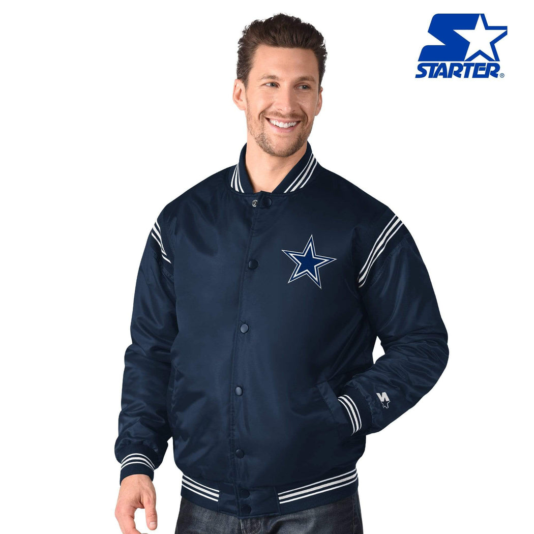 Starter Jacket Dallas Cowboys Starter Enforcer Varsity Navy Satin Jacket