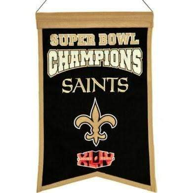Winning Streak Sports Banners Black New Orleans Saints Embroidered Wool Super Bowl Champions Traditions Banner