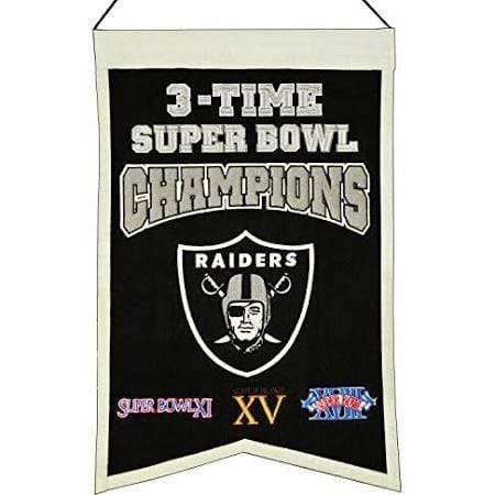 Winning Streak Sports Banners Black Oakland Raiders Embroidered Wool 3-Time Super Bowl Champions Traditions Banner