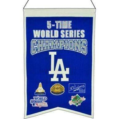Winning Streak Sports Banners Blue Los Angeles Dodgers Embroidered Wool 5-Time World Series Champions Traditions Banner