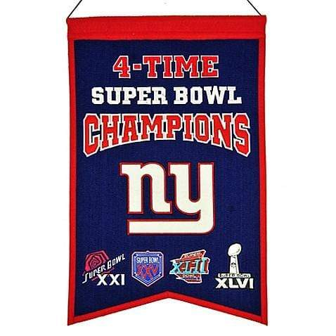 Winning Streak Sports Banners Blue New York Giants Embroidered Wool 4-Time Super Bowl Champions Traditions Banner
