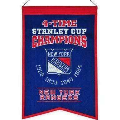 Winning Streak Sports Banners Blue New York Rangers Embroidered Wool 4-Time Stanley Cup Champions Traditions Banner