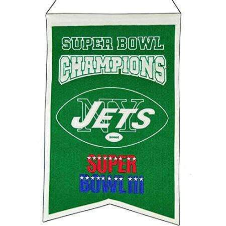 Winning Streak Sports Banners Green New York Jets Embroidered Wool Super Bowl Champions Traditions Banner