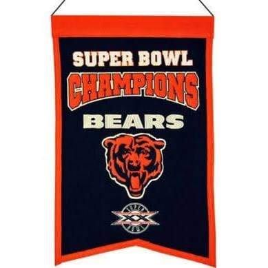 Winning Streak Sports Banners Navy Blue Chicago Bears Embroidered Wool Super Bowl Champions Traditions Banner