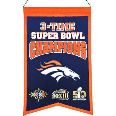Winning Streak Sports Banners Navy Blue Denver Broncos Embroidered Wool 3-Time Super Bowl Champions Traditions Banner