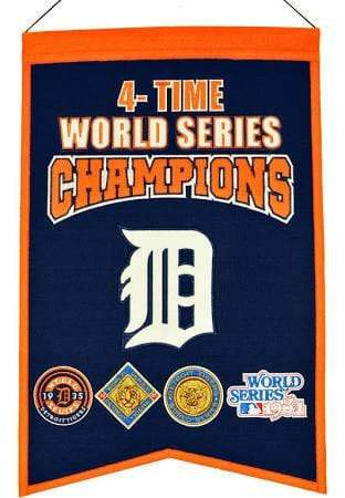 Winning Streak Sports Banners Navy Blue Detroit Tigers Embroidered Wool 4-Time World Series Champions Traditions Banner