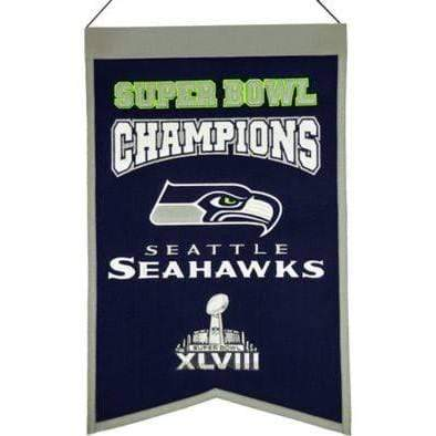 Winning Streak Sports Banners Navy Blue Seattle Seahawks Embroidered Wool Super Bowl Champions Traditions Banner