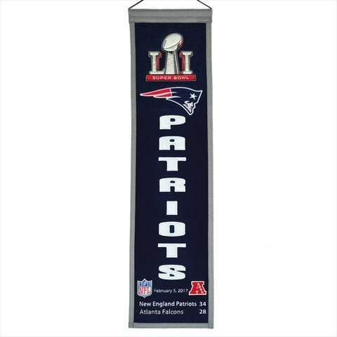 Winning Streak Sports Banners Navy Blue Super Bowl 51 New England Patriots 8x32 Wool Heritage Banner