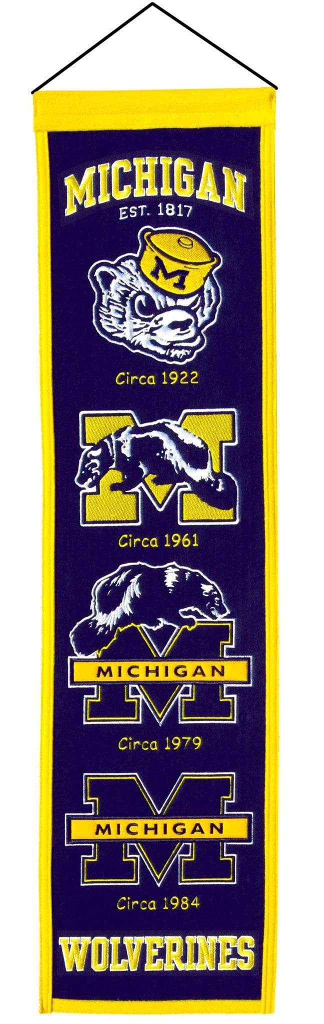 Winning Streak Sports Banners ONE SIZE Michigan Wolverines  8x32 Wool Heritage Banner