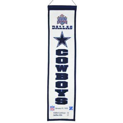 Winning Streak Sports Banners ONE SIZE Super Bowl 27 Dallas Cowboys 8x32 Wool Heritage Banner